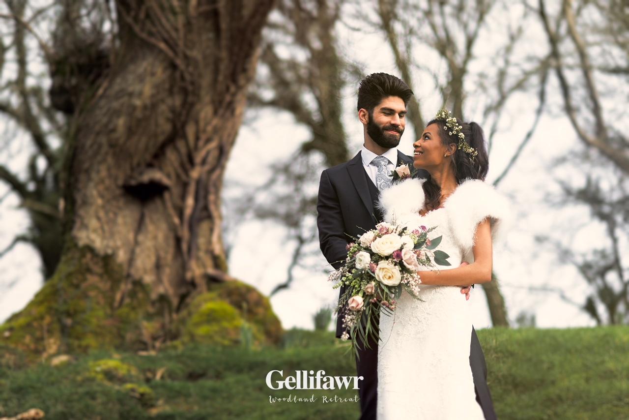 Bridal couple at Gellifawr