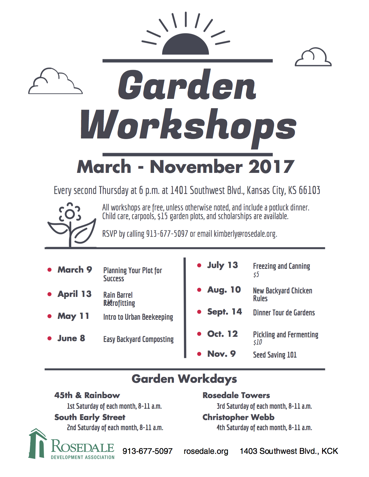 2017 Workshop Schedule