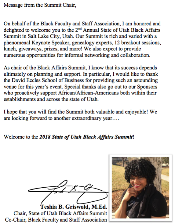 Message from the Summit Chair, Teshia Griswold