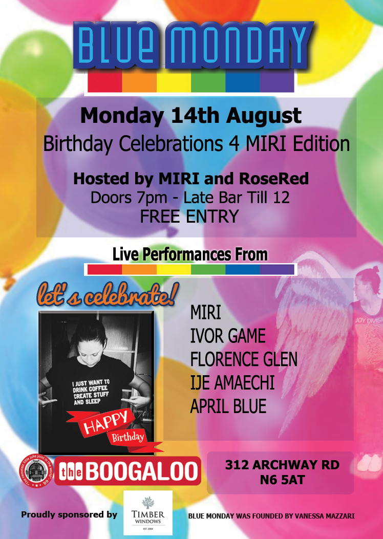 Blue Monday Live Music Night August 14th 2017