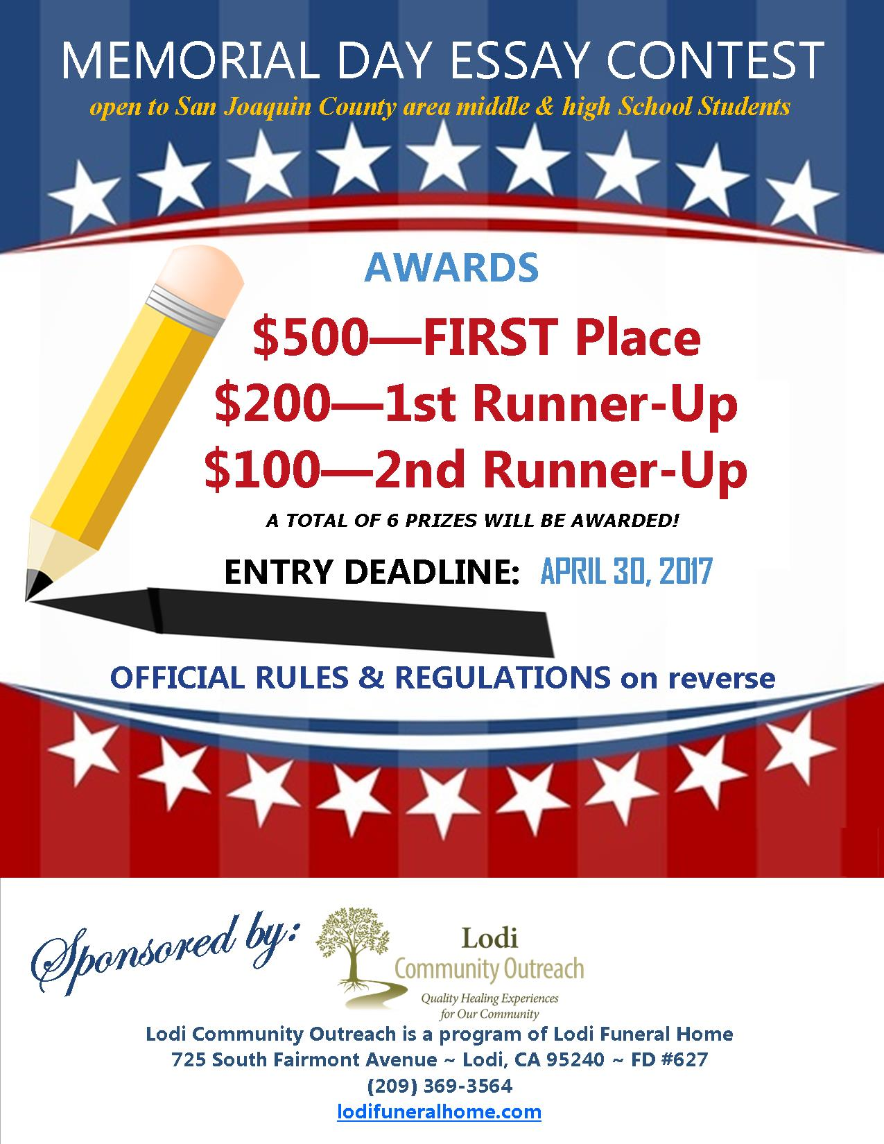 memorial day youth essay contest tickets thu mar at  the essay contest awards ceremony during the memorial day patriotic remembrance winning essays will be featured on the lodi funeral homes website