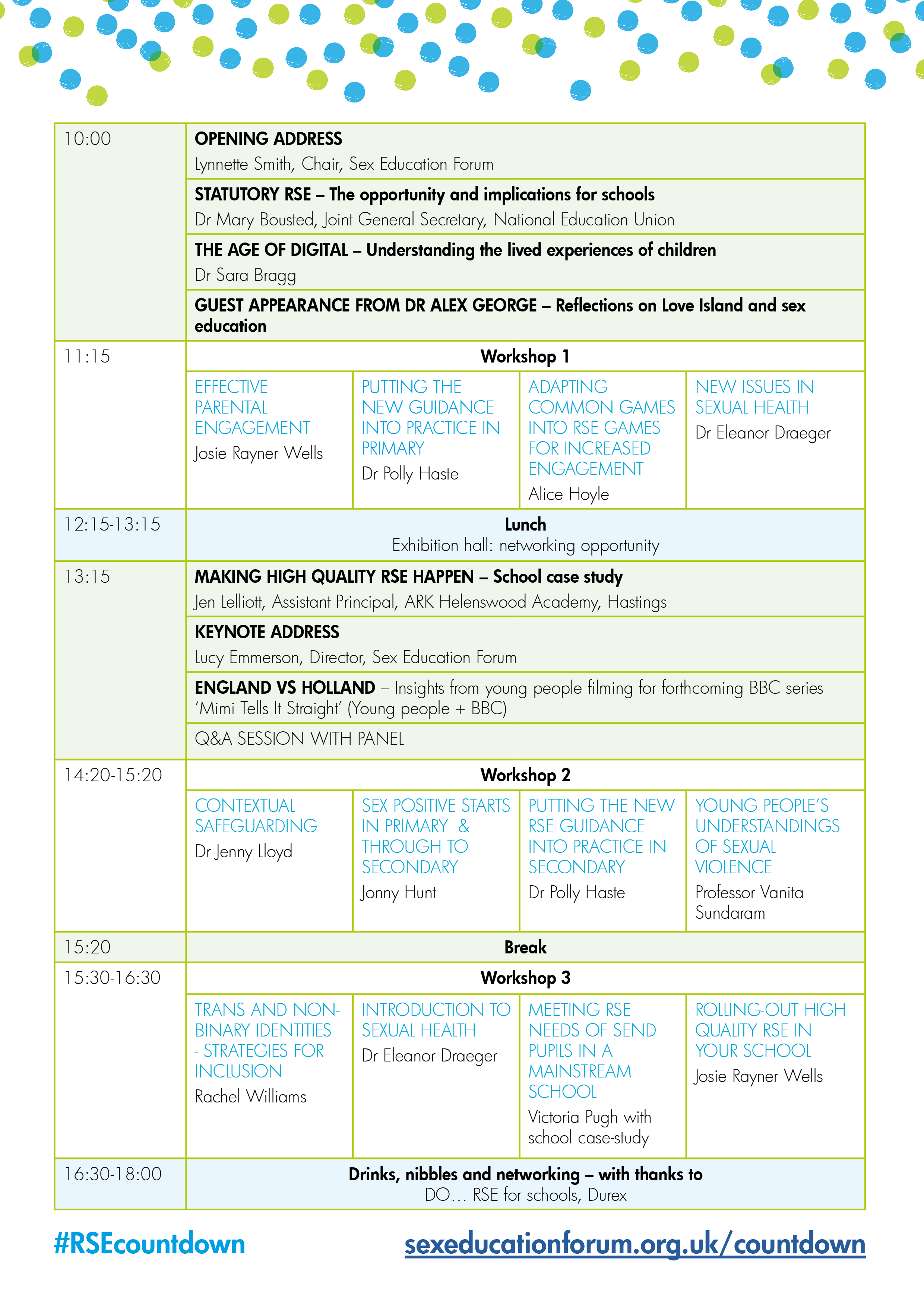 RSE Countdown conference programme