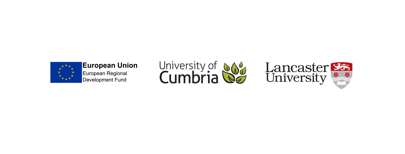 Lancaster University, University of Cumbria and ERDF logos