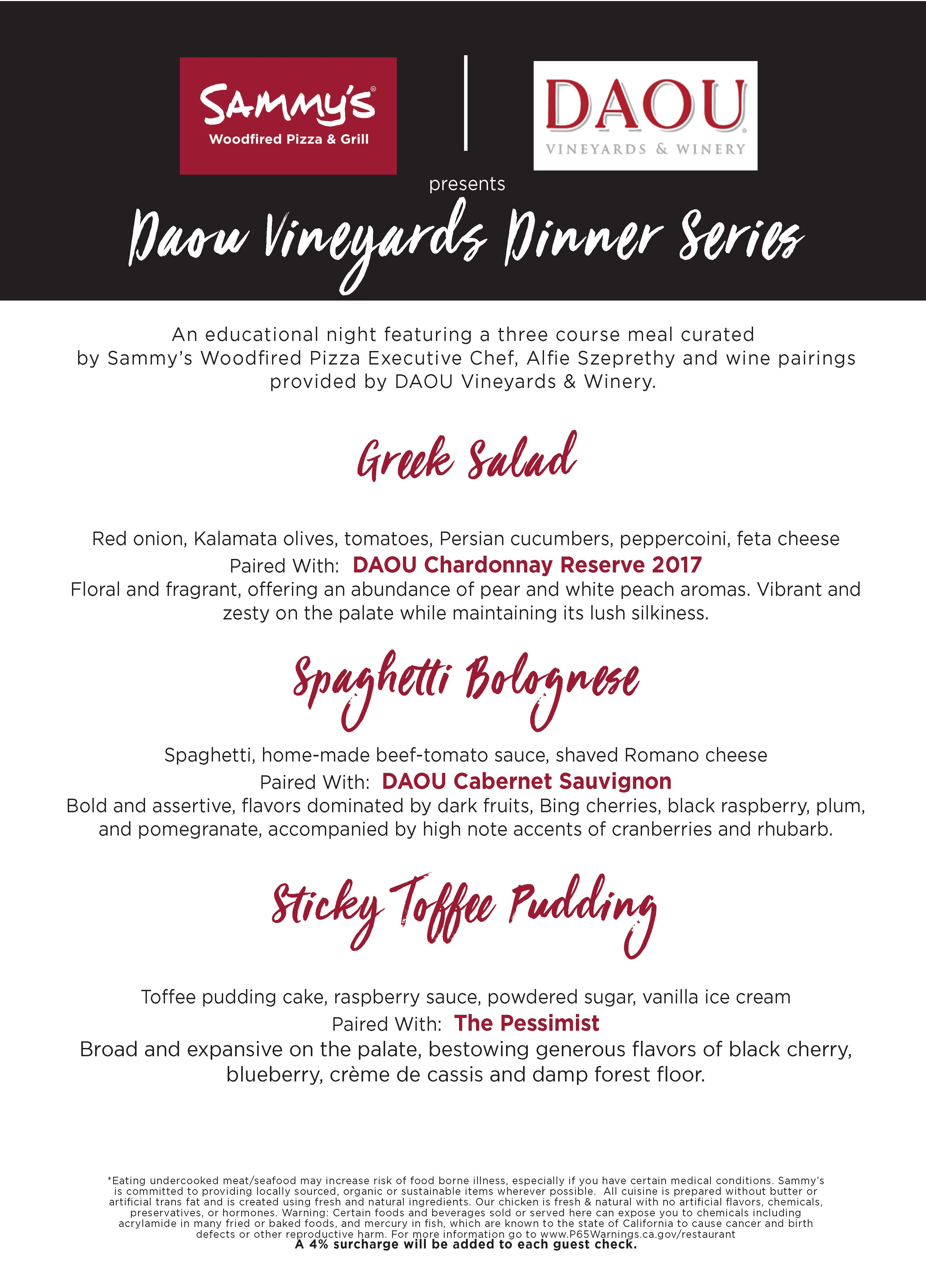 Daou Wine Dinner Menu