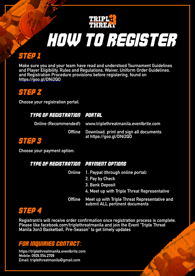 How to Register Triple Threat  Manila 3on3 Basketball, Pre-Season