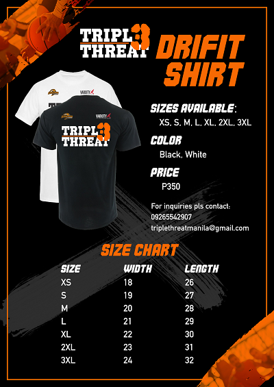 Shirt Size Triple Threat  Manila 3on3 Basketball, Pre-Season