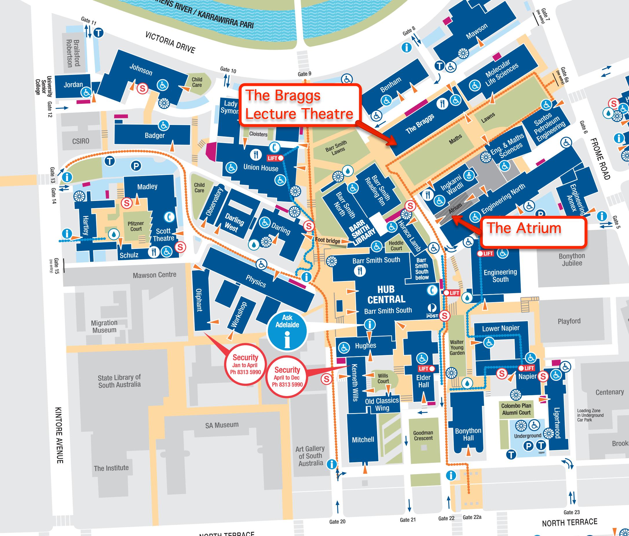 Braggs Lecture Theatre Map