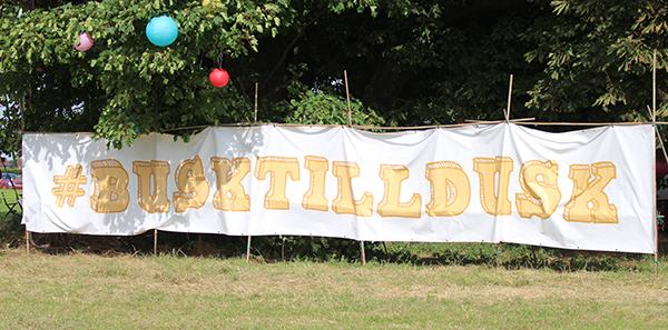 The #BUSKTILLDUSK sign at Busk Till Dusk 2016
