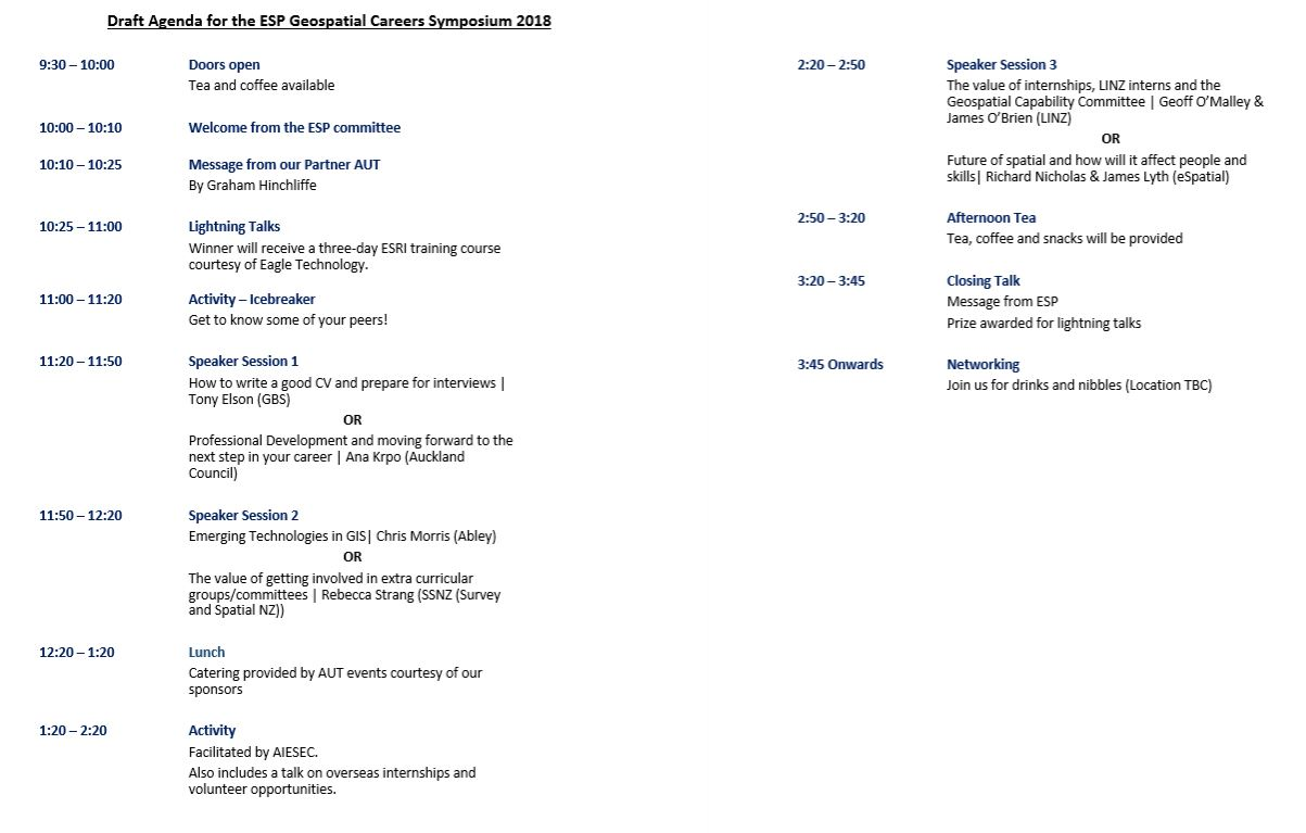 Outline of the day for the Geospatial Careers Symposium