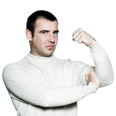 Flexed muscle guy