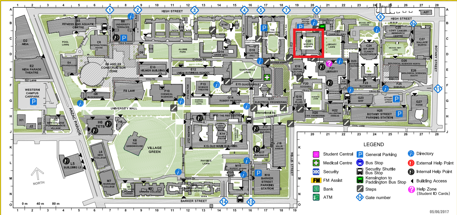 UNSW Campus map Morven Brown Building