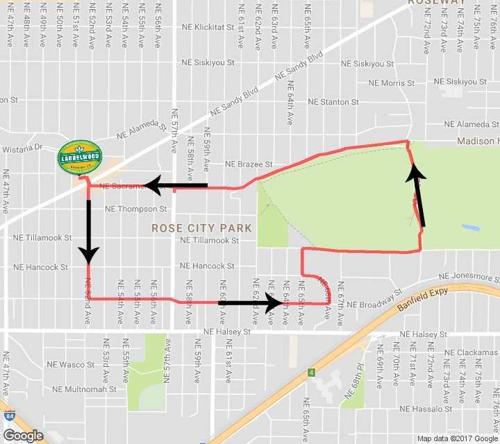 Laurelwood 2017 5K Course