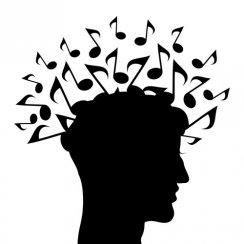 Head with music notes coming out of it