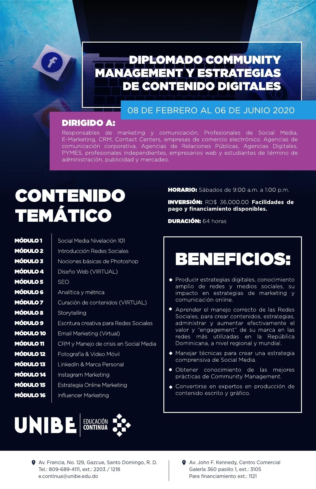Temario Diplomado Community Management Febrero - Junio 2020