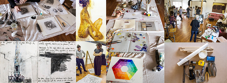 Image of artworks and workshop students making artworks