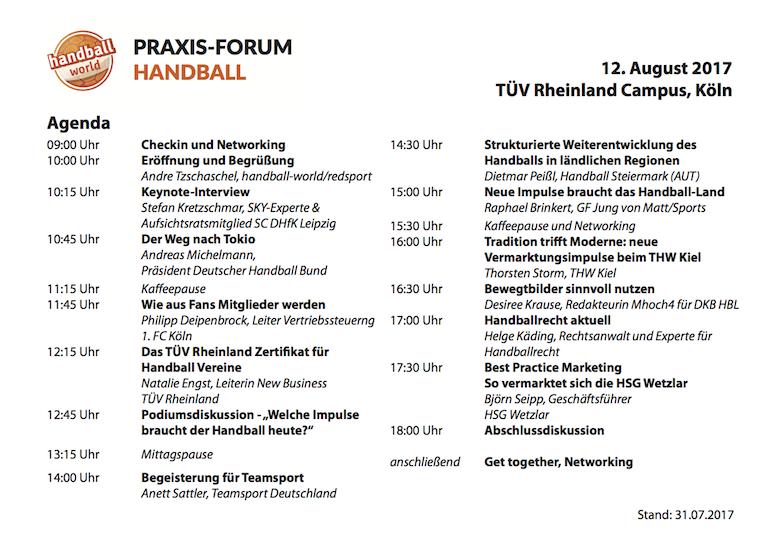 Praxis-Forum Handball Agenda
