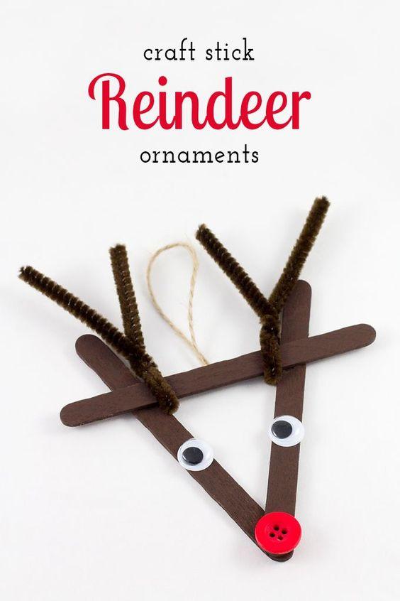 Reindeer made of popsicle sticks
