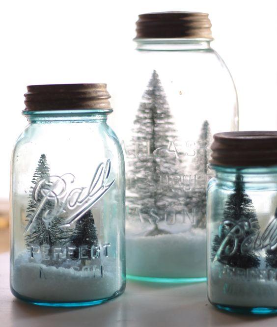 DIY Mason Jar Snowglobe with mini Christmas Trees