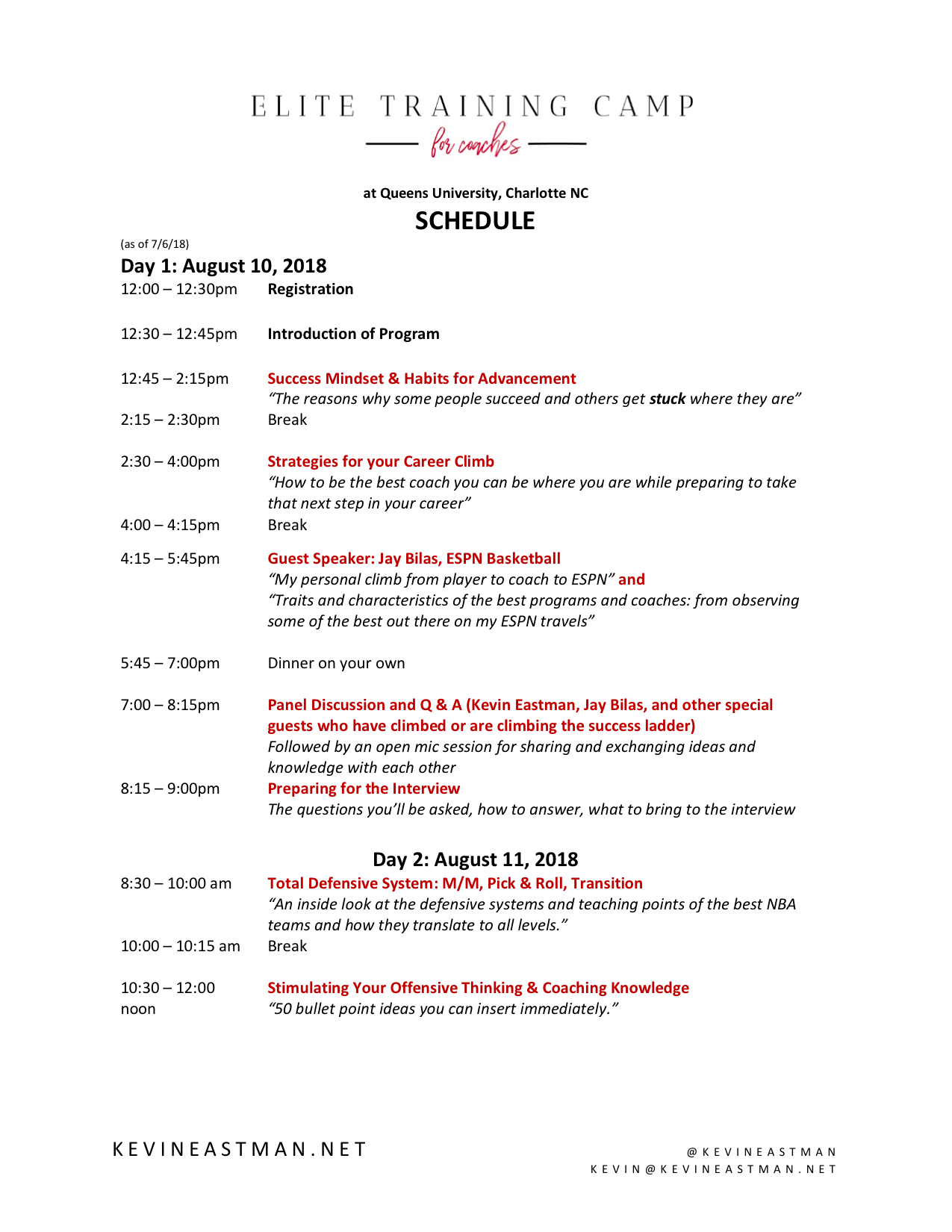 Elite Training Camp 2018 Schedule