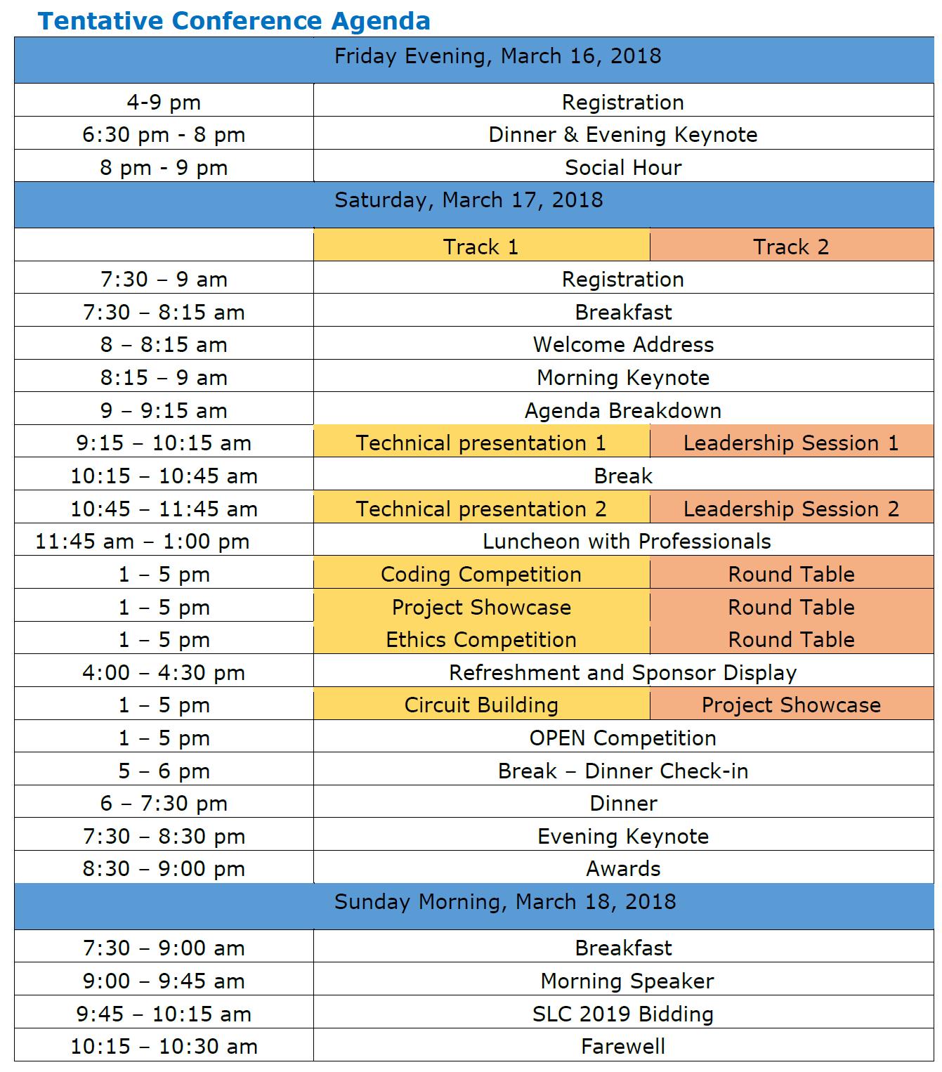 SLC Schedule