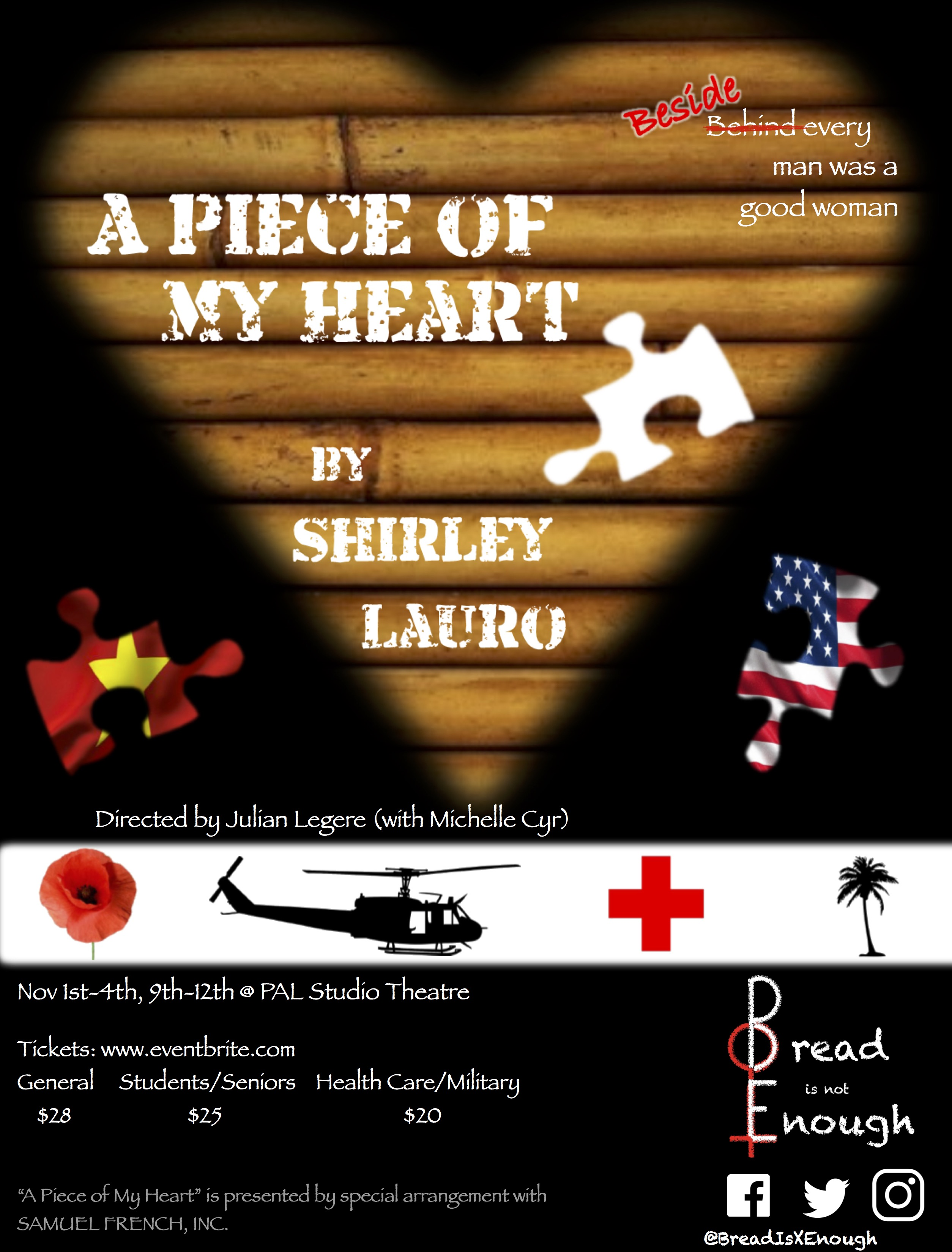 A Piece of My Heart by Shirley Lauro Nov 1-12 PAL Theatre
