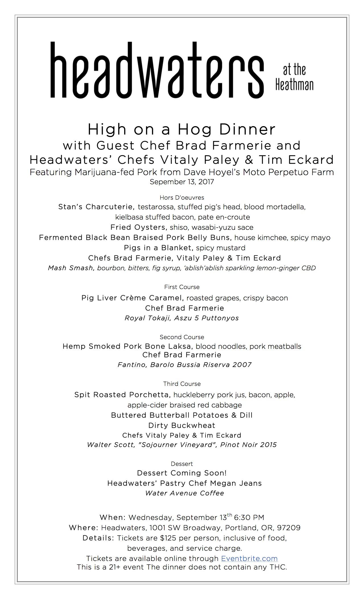High on a Hog Menu