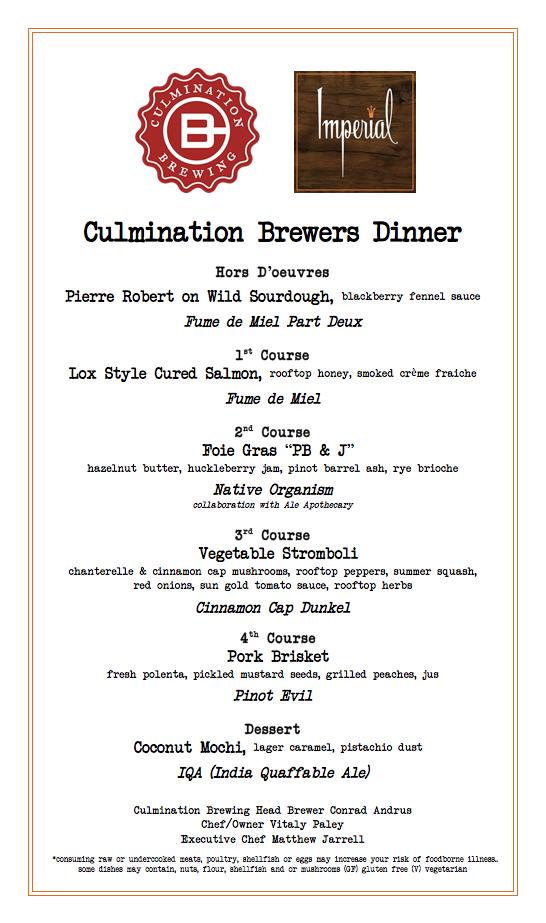 Culmination Brewer's Dinner Menu