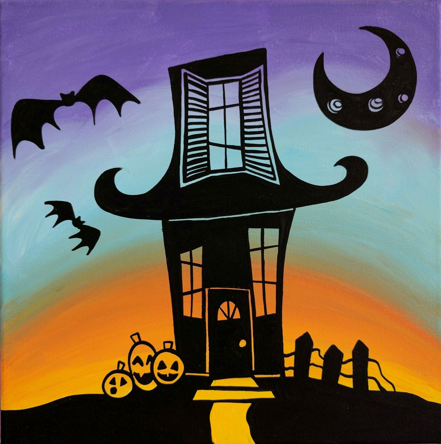 Haunted House Silhouette Canvas