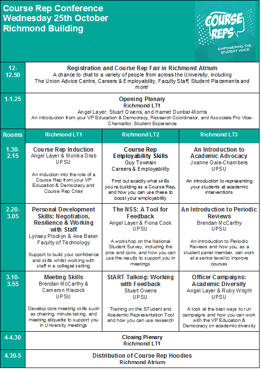 Course Rep Conference Programme