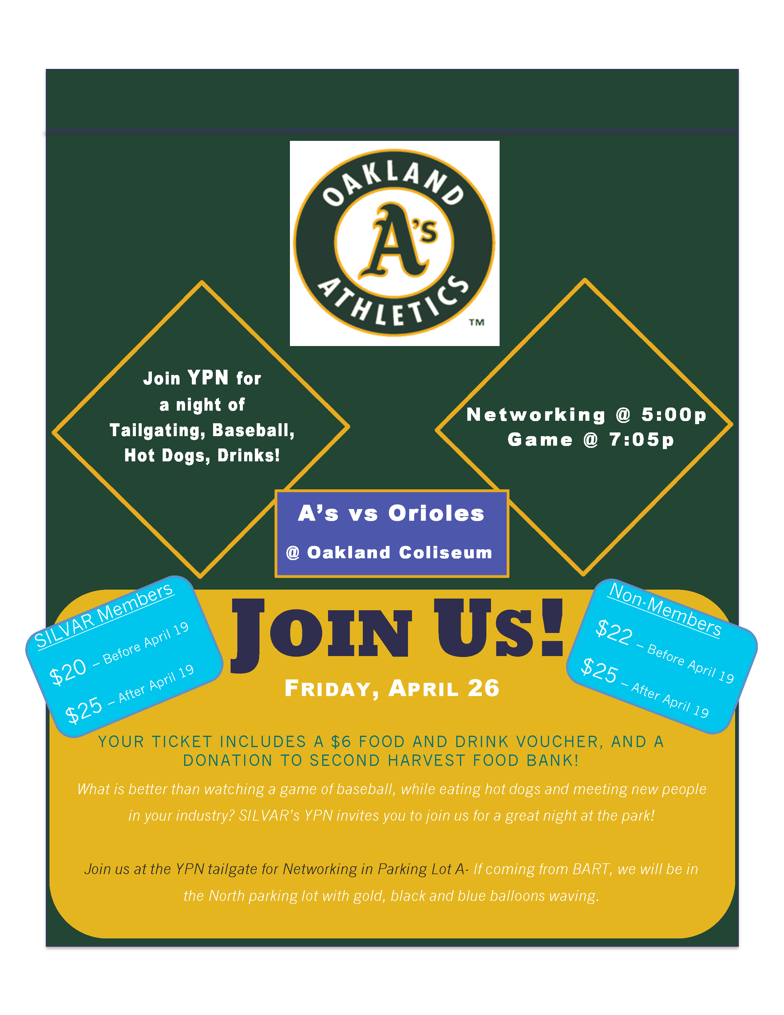 SILVAR YPN flyer for Take Me Out to the Ball Game!