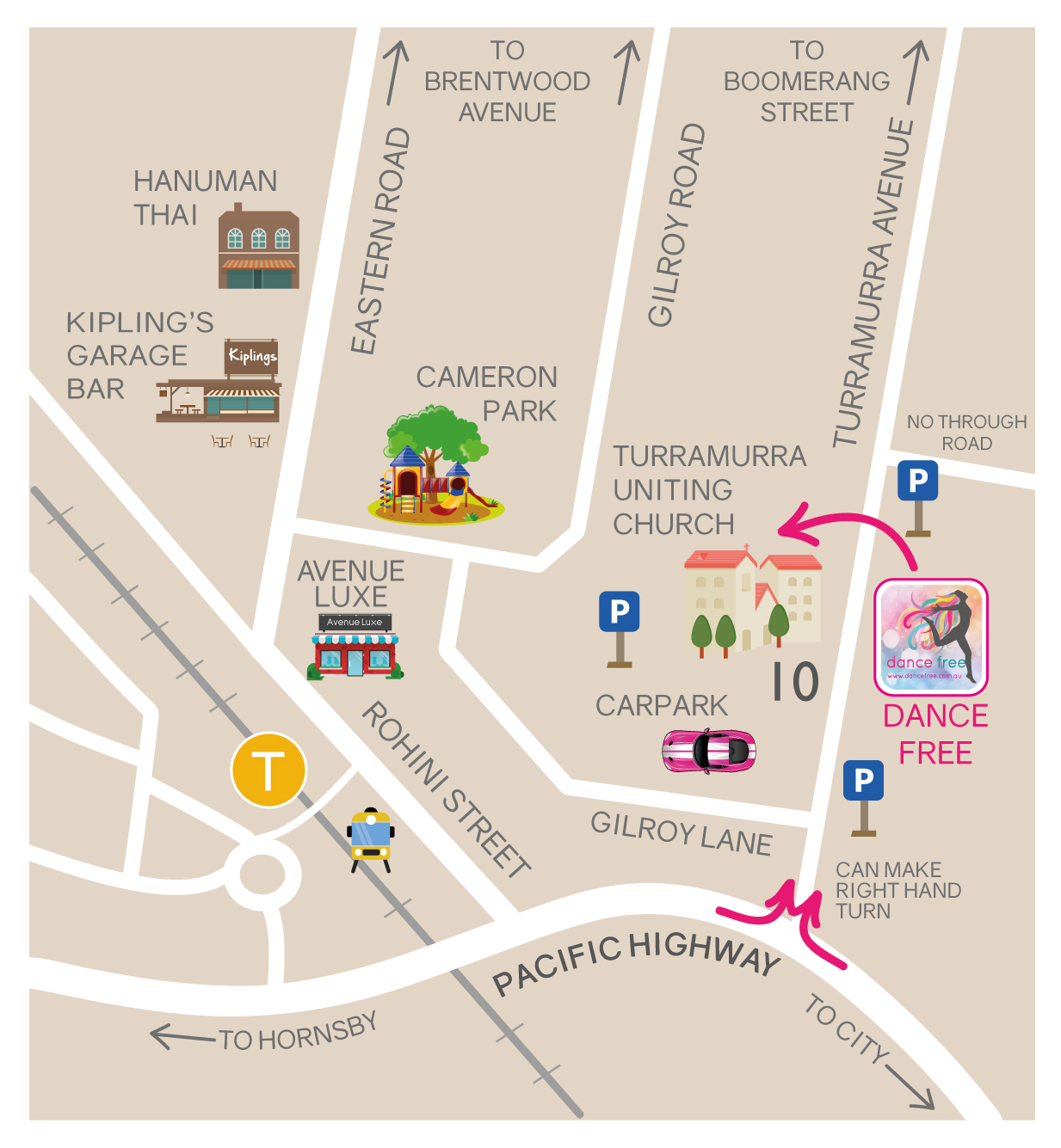 Map of Dance Free in Turramurra neighbourhood