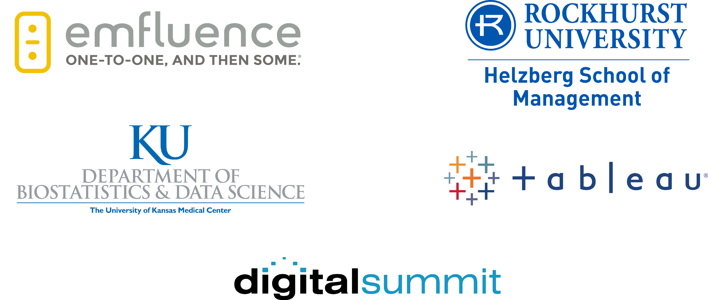 MASS 2019 Sponsors - emfluence, Rockhurst University, University of Kansas, Tableau, Digital Summit