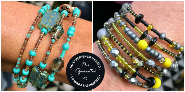 No experience needed to create a DIY one-of-a-kind bangle-style bracelet with Serendipity Bead Stew jewelry-making kits!