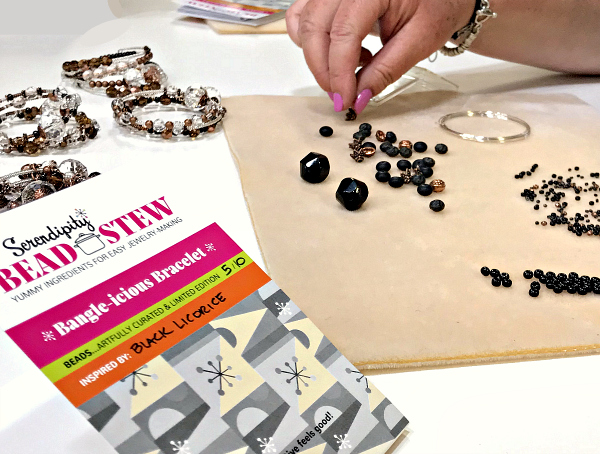 A Serendipity BEAD STEW bracelet in the process of being made