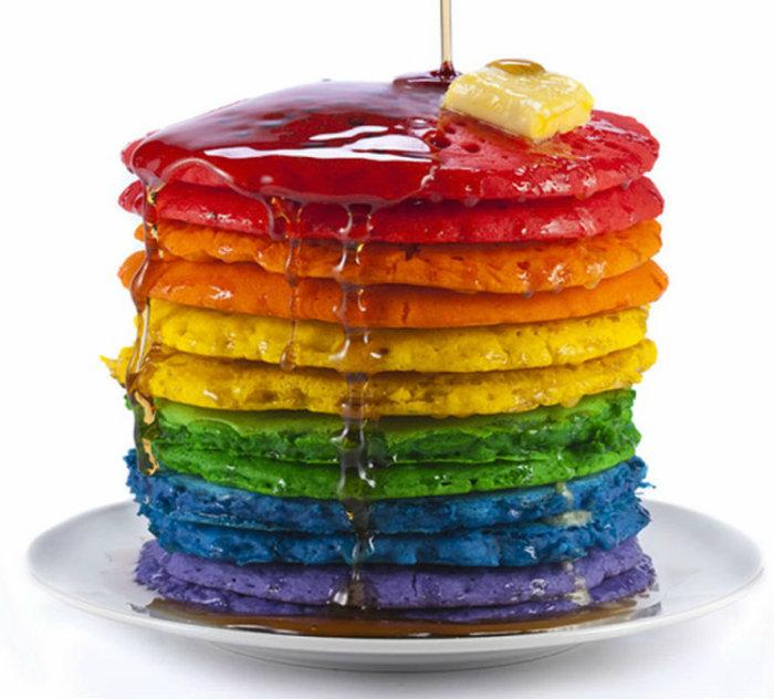 Rainbow Pancakes Stack