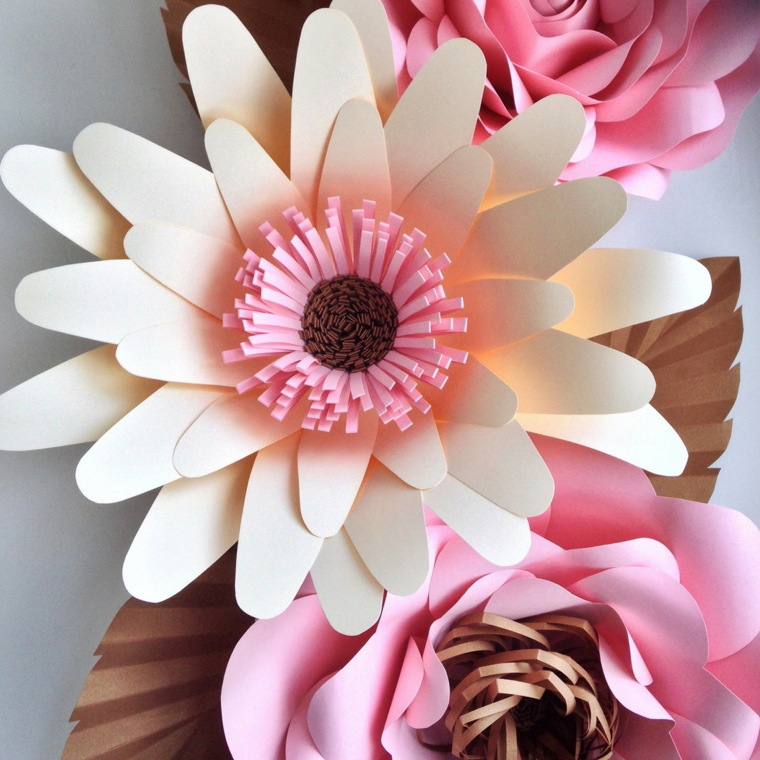 Flipside Bride Giant Paper Flowers - cream pink and gold daisy