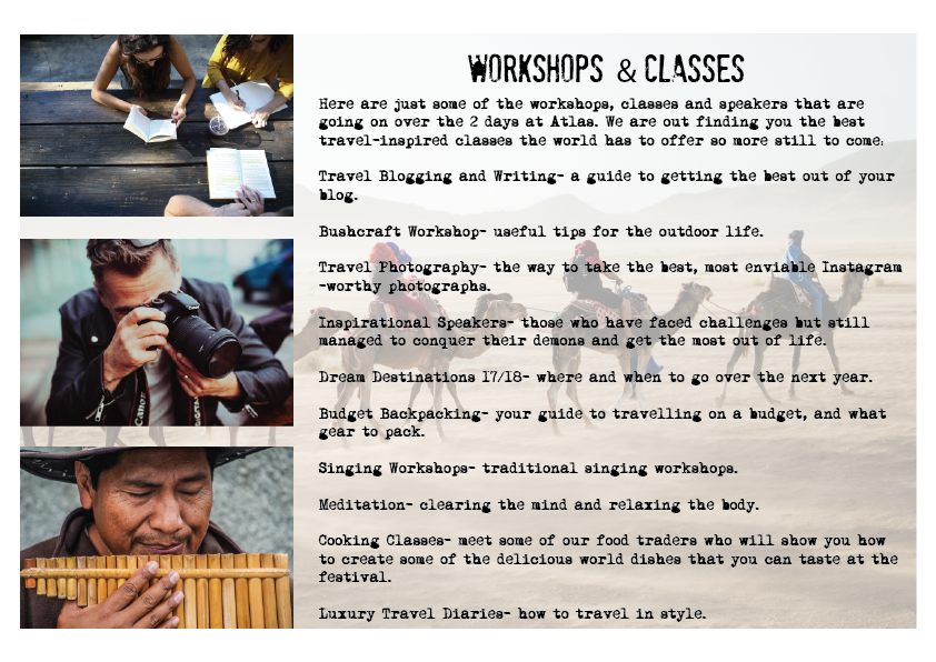 Workshops and classes at Atlas
