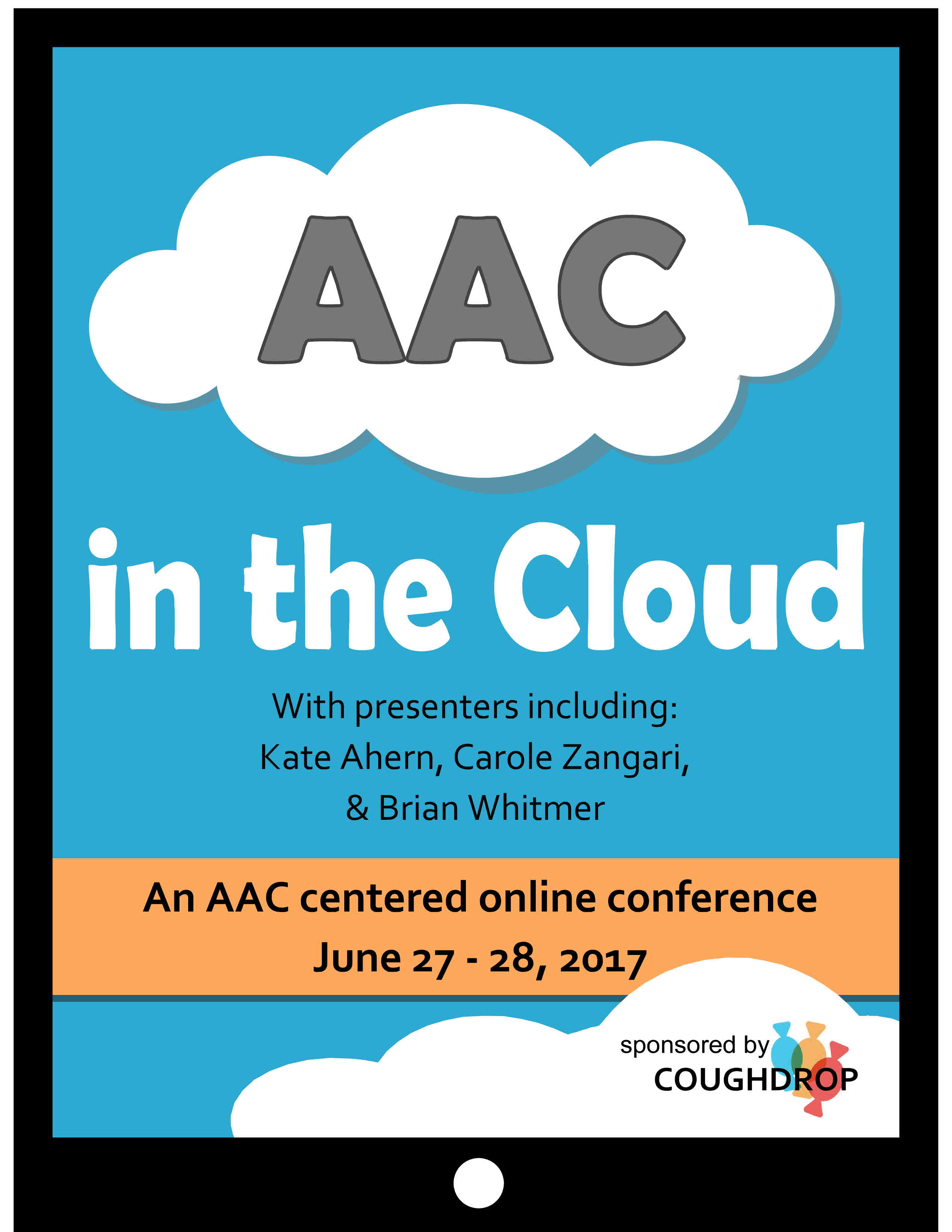 Image of the letter 'AAC' in a cloud on the screen of an iPad with text describing the AAC in the cloud conference