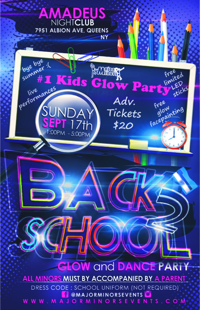 Back to school Glow and Dance Kids Party