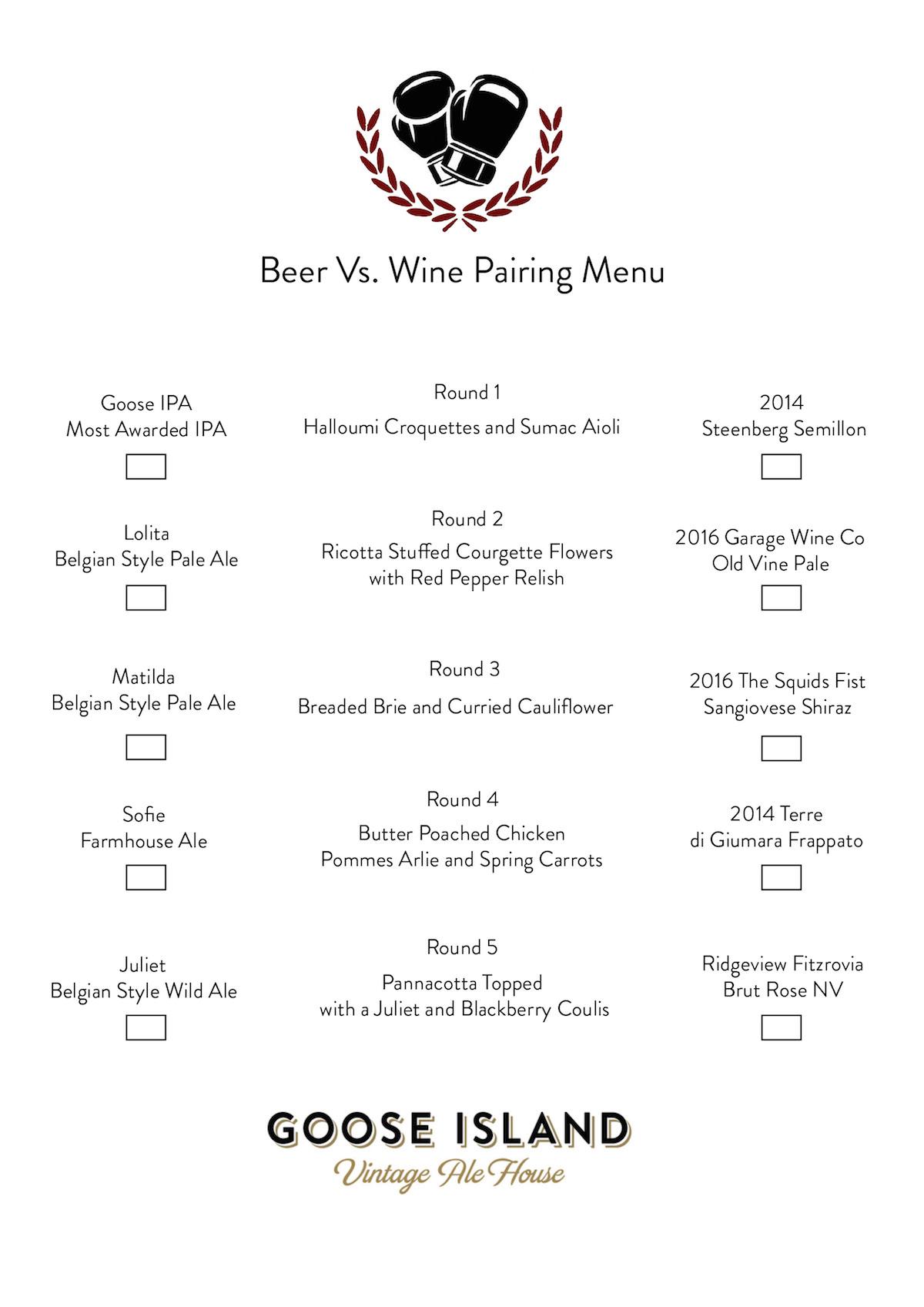 beer vs wine menu