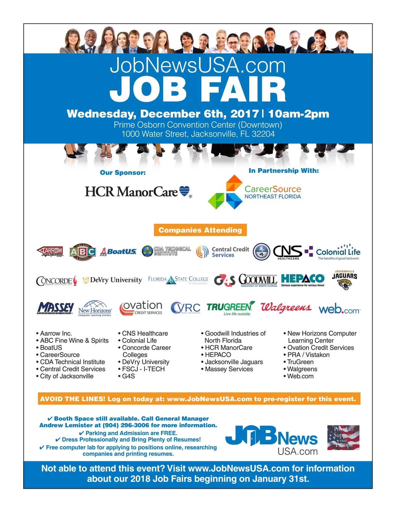 Huge Jacksonville Job Fair Tickets Wed Dec 6 2017 At 10 00