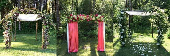 floral arches and chuppahs