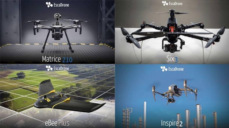 les drones techniques professionnels escadrone, DJI et Sensefly