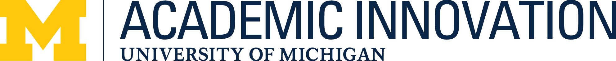Block Michigan M with Academic Innovation Script