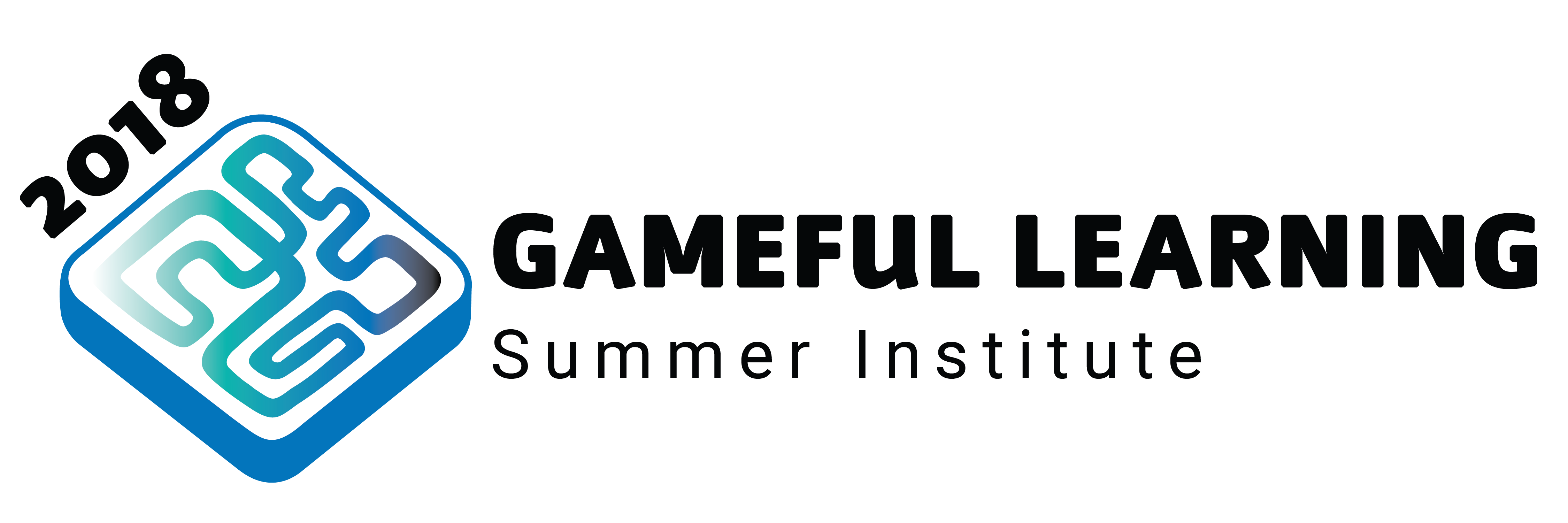 Colorful maze image with gameful learning summer institute typeface