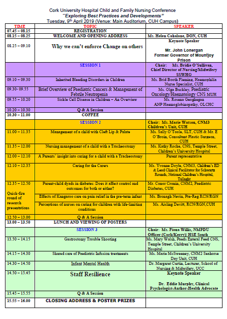 CUH Cork Child & Family Nursing Conference Timetable