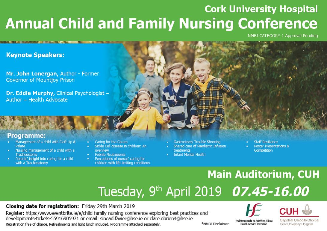 Flyer Child and Family Nursing Conference CUH Cork