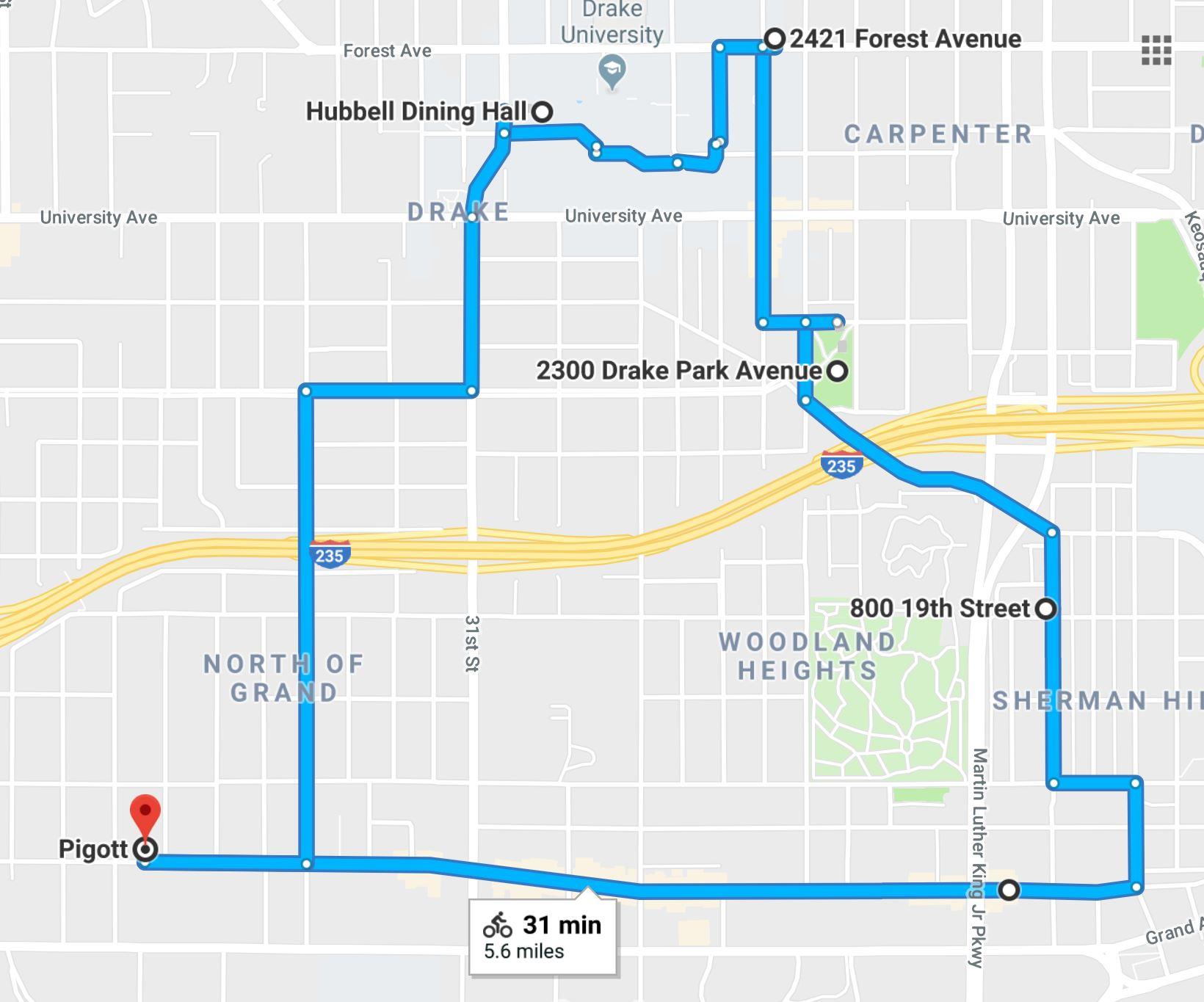 2018 Tour Route