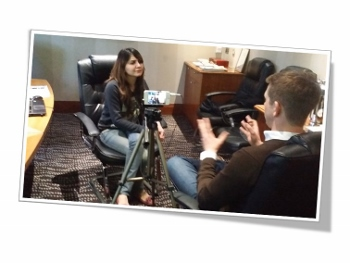 Filming an interview