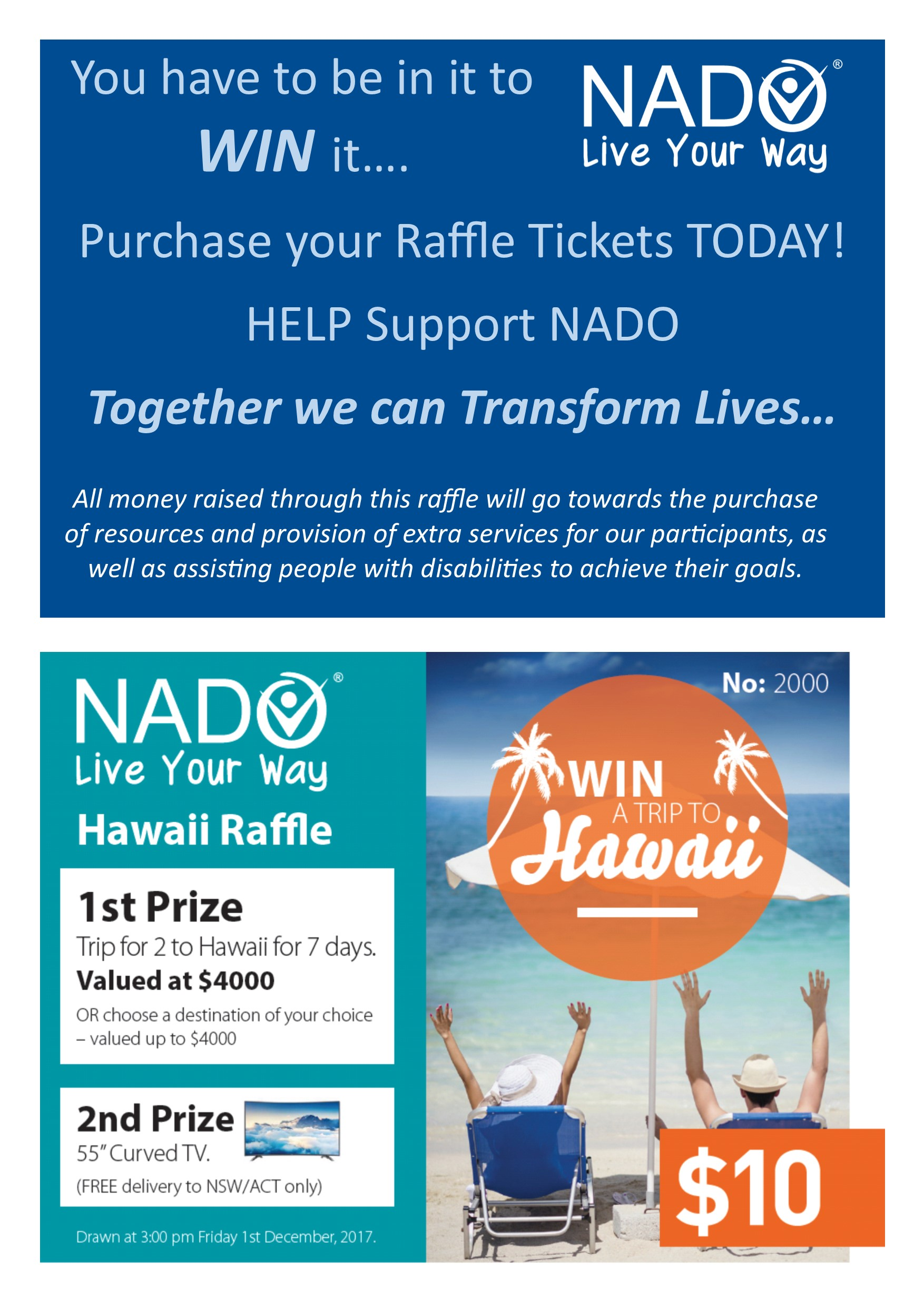 Win a Trip to Hawaii! Purchase your Raffle ticket Today!